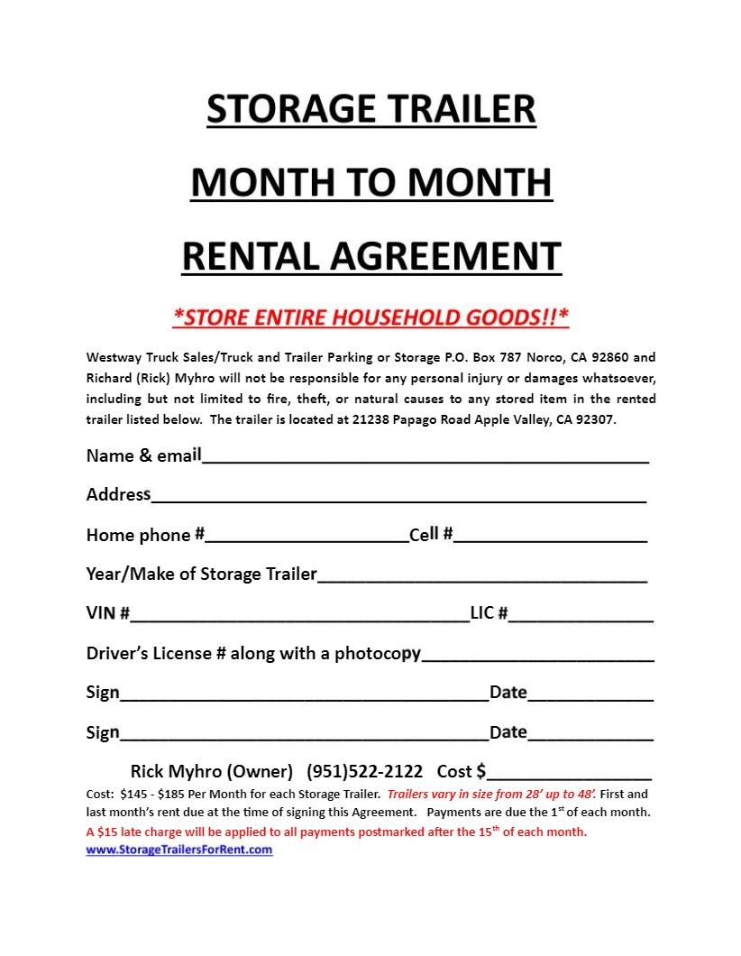 Car Storage Rental Agreement